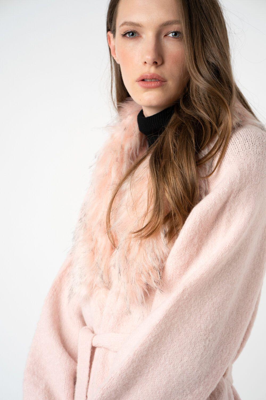 cardigan roz cu blana i21 Nicole