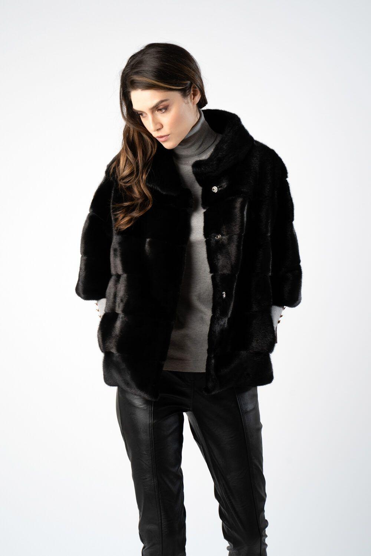 haina din blana naturala cu maneca trei sfert i21 ETIC