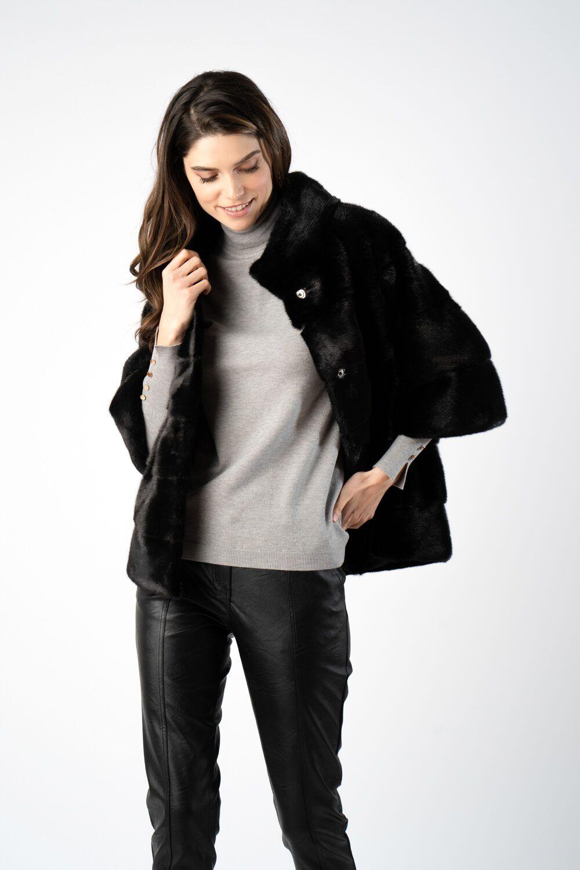 haina din blana naturala cu maneca trei sfert i21 ETIC 3