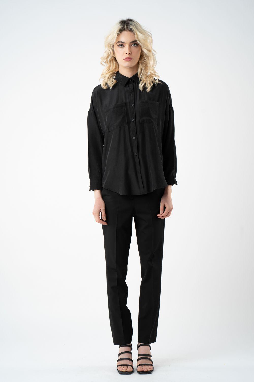 pantalon negru cu banda elastica v21 Brenda