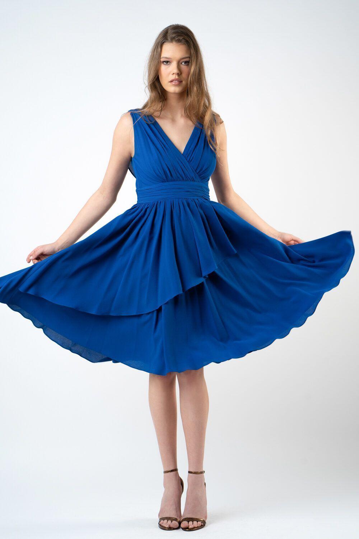 rochie albastra cu pliuri i21 Adina ETIC 2