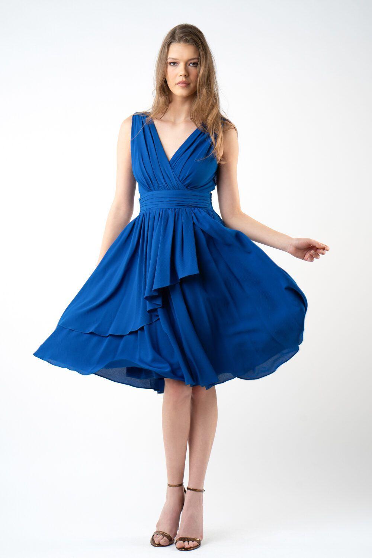 rochie albastra cu pliuri i21 AdinaETIC 1