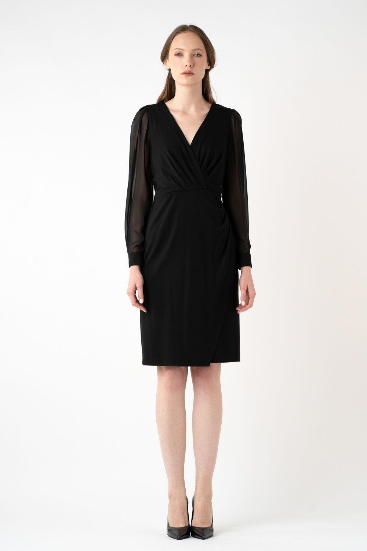 rochie neagra cu maneci transparente i21 Riana