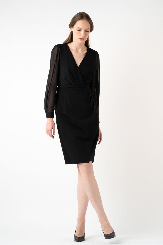 rochie neagra cu maneci transparente i21 Riana ETIC 1