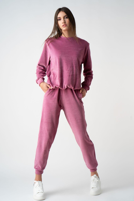 1 pantalon roz din catifea i21 Oana