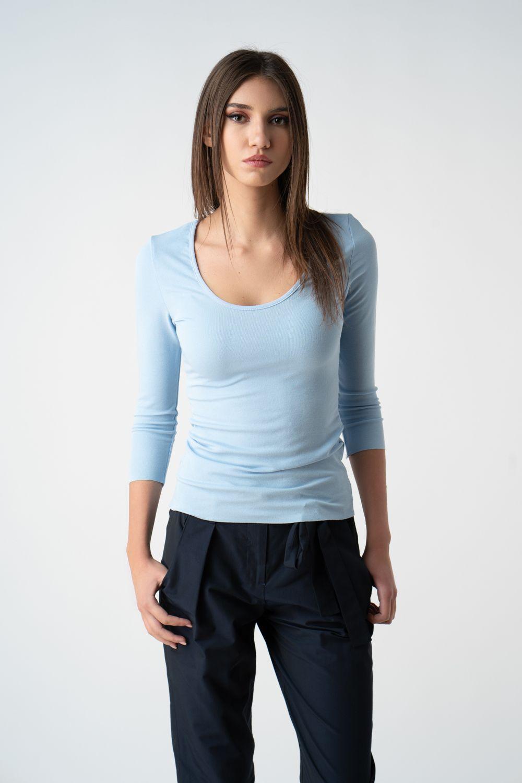 bluza bleu mulata cu decolteu v21 Catrina