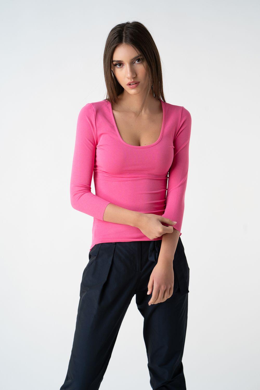 bluza pink cu decolteu v21 Catrina etic