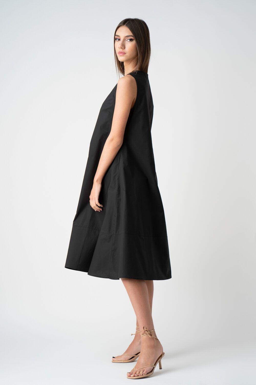 rochie neagra cu pliuri fara maneci v21 Eveline ETIC 1