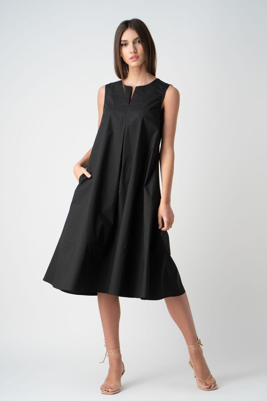 rochie neagra cu pliuri fara maneci v21 Eveline ETIC