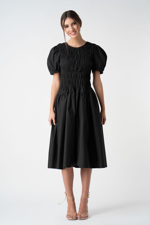 rochie neagra cu pliuri v21 Diana ETIC