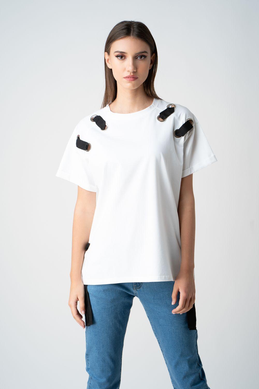 tricou alb cu detalii metalice v21 maia ETIC