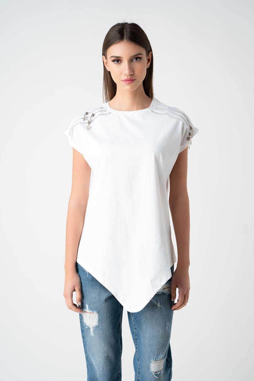 tricou alb cu fermoare v21 Ariela ETIC
