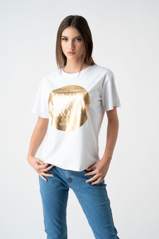 tricou alb cu imprimeu auriu v21 Sonia ETIC 1