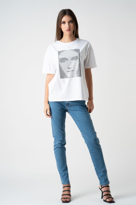 tricou alb cu imprimeu v21 Cristina