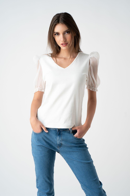 tricou alb cu maneci transparente v21 Daniela ETIC 1