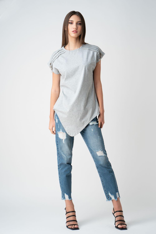 tricou gri cu fermoare v21 Ariela