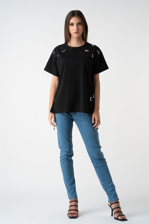 tricou negru cu detalii metalice v21 Maia
