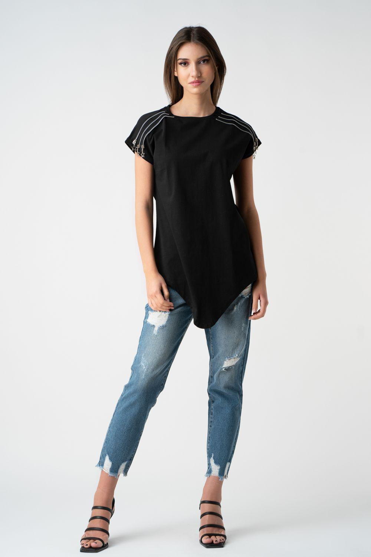tricou negru cu fermoare ariela