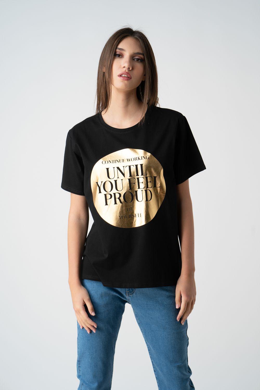 tricou negru cu imprimeu auriu v21 Sonia ETIC 1
