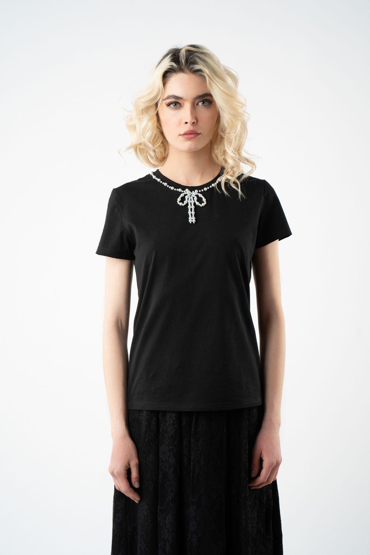 tricou negru cu perle v21 Camelia ETIC 3