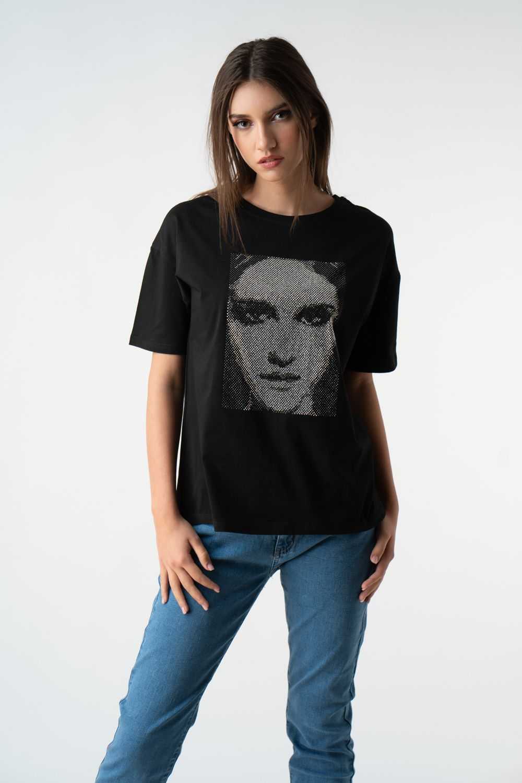 tricou negru cu pietre v21 Cristina ETIC