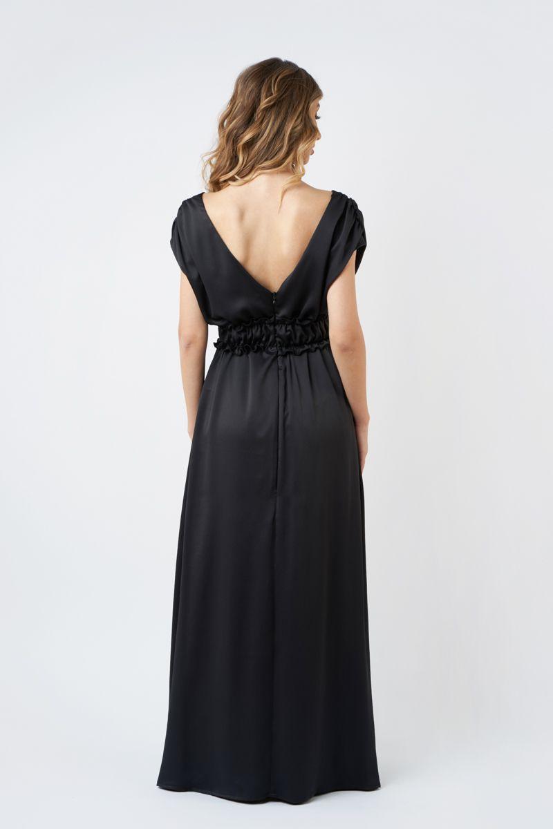 rochie neagra de seara cu decolteu in v I20 Vica ETIC 1