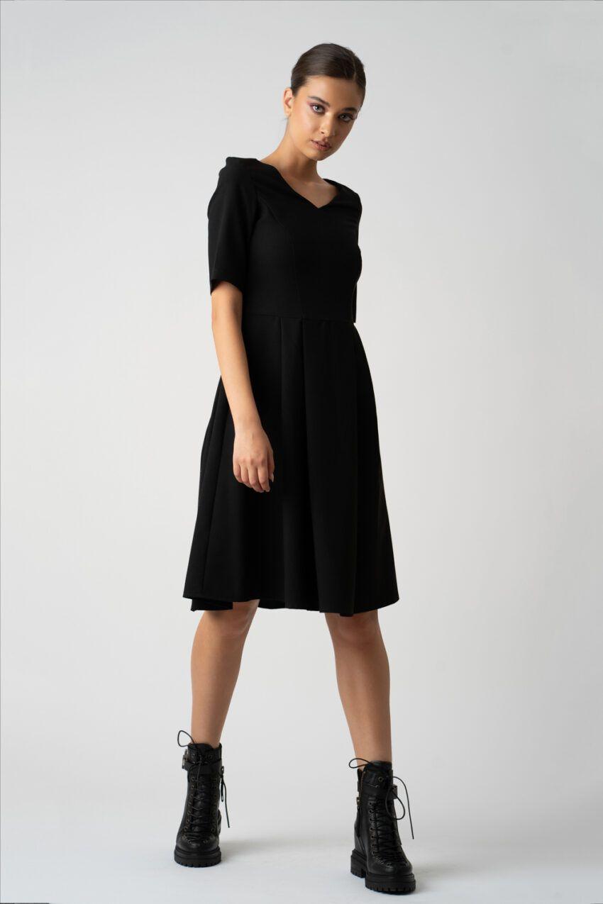 rochie neagra cu maneca trei sfert i21 Melisa ETIC 3
