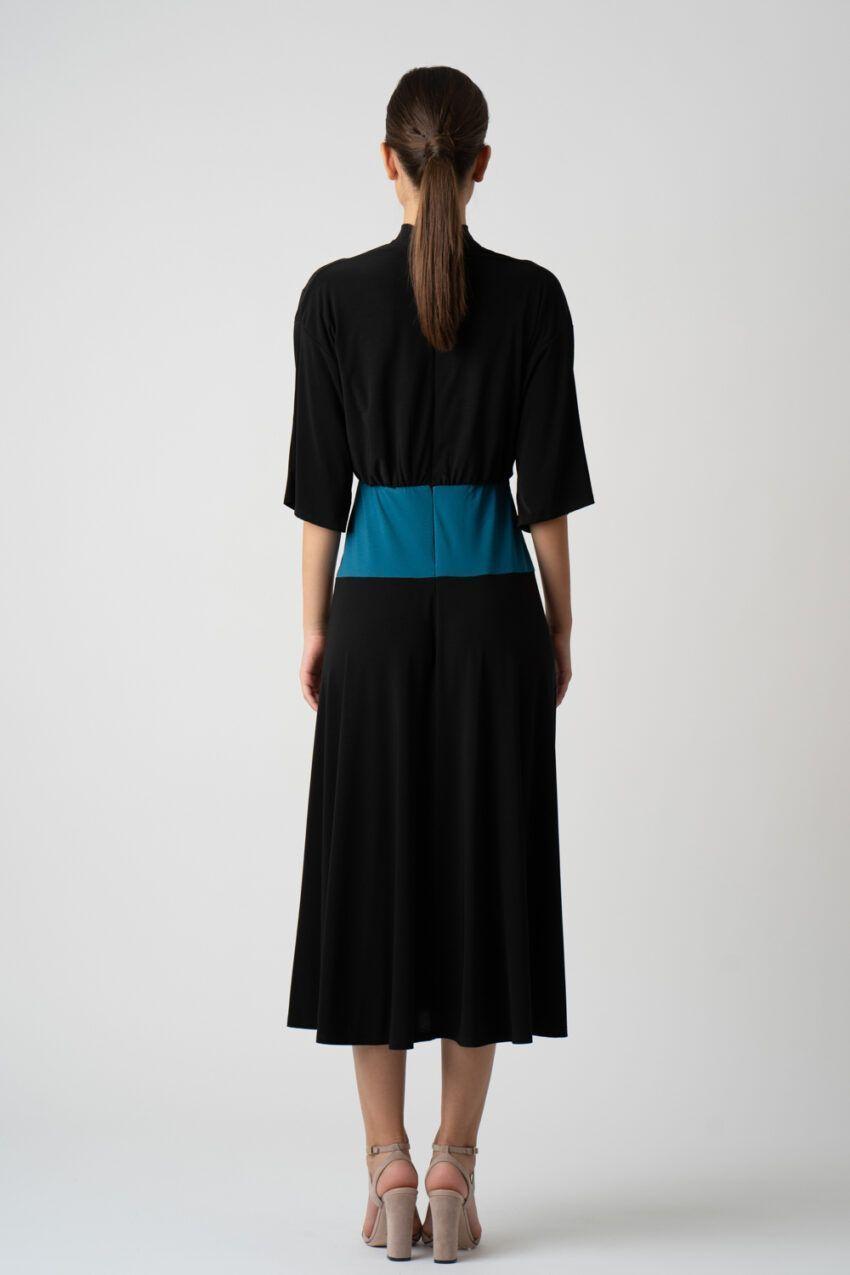 rochie neagra cu pliuri si maneci i21 Ancuta ETIC 1