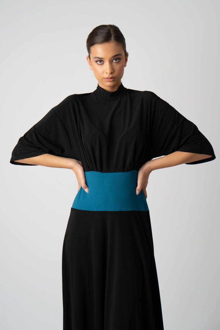 rochie neagra cu pliuri si maneci i21 Ancuta ETIC 3